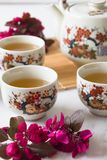 Traditional cherry blossom decorated Japanese tea set filled with green tea and fresh red cheery blossom. Against white marble background. Copy space,  healthy royalty free stock photography