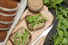 Traditional chicken liver pate on bread, appetizer stock image