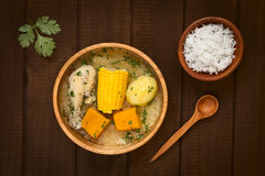 Traditional Chilean Cazuela de Pollo Soup Stock Photo