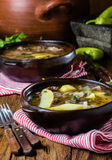 Traditional chilean latinamerican meat soup ajiaco served in clay plate Royalty Free Stock Image