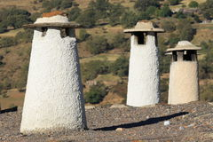 Traditional chimneys in Alpujarras Stock Photography
