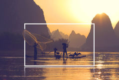 Traditional China Fihery Fishermen Culture Concept Royalty Free Stock Photography