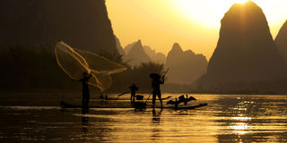 Traditional China Fishing Fisherman Concept Royalty Free Stock Photos