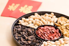 Traditional china new year snack box with red pocket, word meani. Ng luck Royalty Free Stock Photography