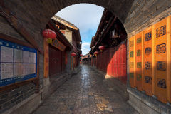 Traditional China residential door in Lijiang, China. Royalty Free Stock Images