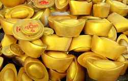 Traditional chinese ancient gold bullion nugget. Royalty Free Stock Photos