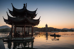 Traditional Chinese ancient pavilion on the West Lake Stock Photography