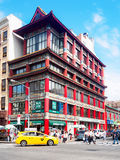 Traditional chinese architecture at Chinatown in New York City. NEW YORK,USA - AUGUST 21,2015 : Traditional chinese architecture at Chinatown in New York City royalty free stock photo