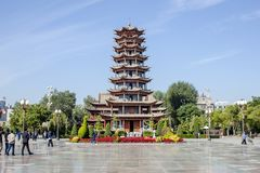 Traditional Chinese Architecture Of Pagoda On The Main Square Of Zhangye City stock photography