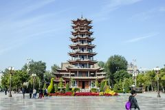 Traditional Chinese Architecture Of Pagoda On The Main Square Of Zhangye City royalty free stock photography