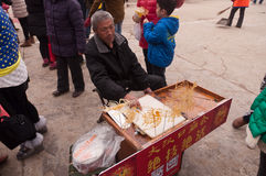 Traditional Chinese artists hawking. Wuhan, China - February 3, 2014:Traditional artists hawking in Zhongshan park in Wuhan. Zhongshan Park predecessor called stock photos