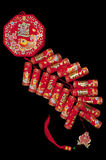 The traditional Chinese auspicious firecrackers. Hang, black background Stock Photo