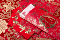 Traditional chinese bag,calligraphy mean happy new year Stock Images