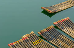 Traditional chinese bamboo rafts Stock Images