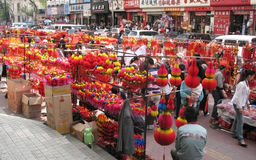 Traditional chinese bazaar. View of traditional chinese bazaar in the street, fair before Chinese New year Stock Photos