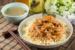 Traditional chinese bowl of rice vermicelli with minced fried po Royalty Free Stock Photos