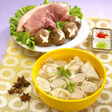 Traditional Chinese bowl of wanton noodle with pork and mushroom Stock Photos