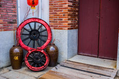 Traditional Chinese Building Front Door with Decoration. Royalty Free Stock Images
