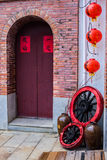 Traditional Chinese Building Front Door with Decoration. Stock Image