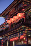 Traditional Chinese building illuminated at night in Beijing, China Royalty Free Stock Image