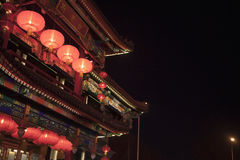 Traditional Chinese building illuminated at night in Beijing, China Stock Photography