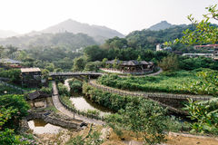 Traditional Chinese Building in a Valley, Jingtong, New Taipei, Taiwan Stock Photos