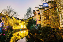 Traditional chinese buildings along the Qinhuai river. Traditional chinese buildings at night in Fuzimiao Nanjing Royalty Free Stock Image