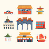 Traditional Chinese Buildings, Hong Kong travel elements. Vector Illustration Set Stock Image