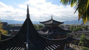 Roof Closeups in Lijiang. Traditional Chinese buildings in northwestern part of Yunnan Province, in China stock photo