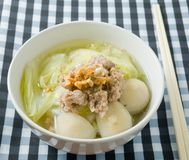 Traditional Chinese Cabbage Soup with Minced Pork and Meat Ball Stock Images