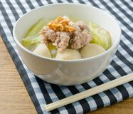 Traditional Chinese Cabbage Soup with Pork and Meat Ball Royalty Free Stock Images
