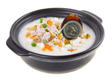 Traditional chinese century egg & pork porridge Royalty Free Stock Photo