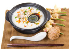 Traditional chinese century egg & pork porridge Royalty Free Stock Images