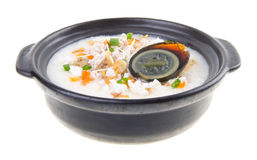 Traditional chinese century egg & pork porridge rice gruel serve Royalty Free Stock Photography