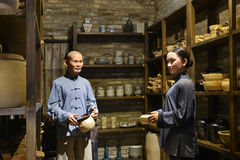 Traditional Chinese ceramic shop,Wax figure ,China culture art Royalty Free Stock Image