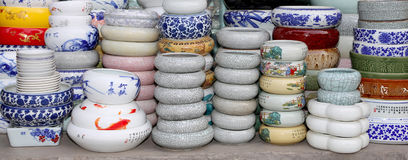 Traditional Chinese ceramic tableware at a Chinese market Stock Photo