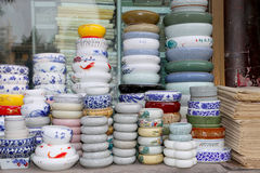 Traditional Chinese ceramic tableware. At a Chinese market Royalty Free Stock Photos