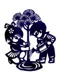 Traditional chinese children paper cutting Royalty Free Stock Photo