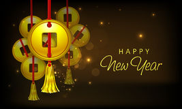 Traditional Chinese coin for Happy New Year celebrations. Beautiful poster or banner design with traditional Chinese coin hanging on shiny brown background for Royalty Free Stock Photos