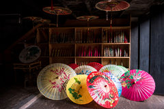 Traditional chinese colour oiled paper umbrella royalty free stock photography