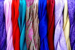 Traditional Chinese colourful cloth and silk. There are some traditional Chinese colourful cloth and silk in this image Royalty Free Stock Photography