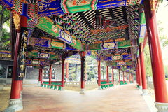 Corridor in Chinese garden China. Eastern Asian Chinese traditional corridor with classic decorative design and patterns in oriental ancient style in classical Stock Photography