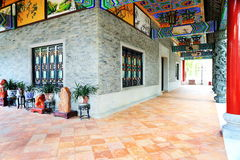 Classic house corridor China. Asian Chinese traditional corridor of classic house in ancient style in classical garden in China Asia. Art of Chinese ancient Stock Photo