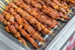 Barbecue lamb kebabs royalty free stock photo