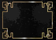 Traditional Chinese decorative golden frame. Gold ornamental element for holiday design. Isolated on dark grey splatter grunge royalty free stock photos