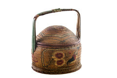 Traditional Chinese Designed Bamboo Basket Royalty Free Stock Photos
