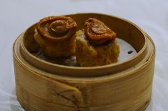 Traditional chinese Dim Sum. Pork dumplings with mushrooms Stock Image
