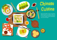 Traditional chinese dinner top view flat icon Stock Images
