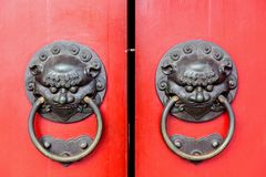 Traditional Chinese Doors With Brass Handles Stock Photography