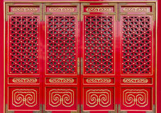 Traditional Chinese doors. Red traditional chinese doors in Yuen Yuen institue temple, Hong Kong Royalty Free Stock Photography